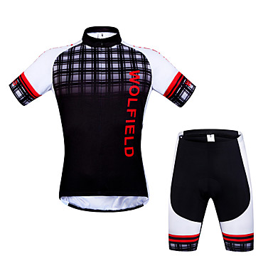 fa1c75d4f WOLFBIKE Men s Short Sleeve Cycling Jersey with Shorts - Red   White Plaid    Checkered Bike Shorts Jersey Clothing Suit Breathable Back Pocket Sports  ...