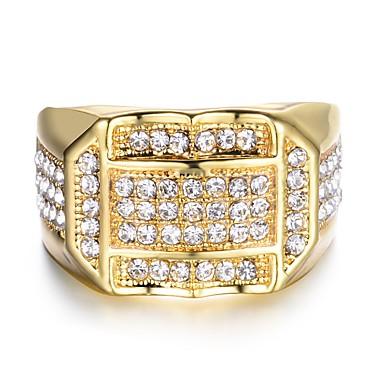 levne Pánské šperky-Pánské Band Ring Prsten Pečetní prsten 1ks Zlatá Stříbrná Měď Obdélníkový Hip-hop italština Svatební Plesová maškaráda Šperky Zásobník