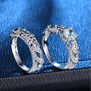 billige Motering-Dame Ring Ring Set 2pcs Sølv Kobber Platin Belagt Fuskediamant damer Romantikk Mote Bryllup Fest Smykker Rund Kjærlighed Kronblad Smuk