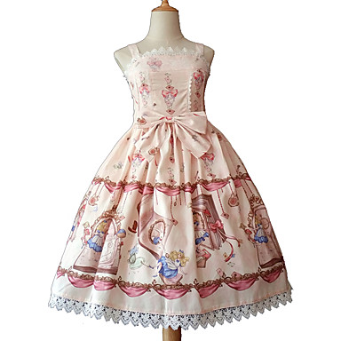 2d2853ad168 [$79.99] Rococo Cute Dress Girls' Female Chiffon Lace Japanese Cosplay  Costumes Blue / Pink / Ink Blue Print Bowknot Sleeveless Sleeveless Midi