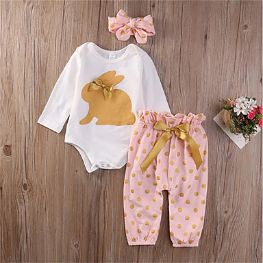 cheap Baby Girls' Clothing Sets-Baby Girls' Boho Daily Polka Dot Bow Long Sleeve Long Long Cotton Clothing Set White / Toddler