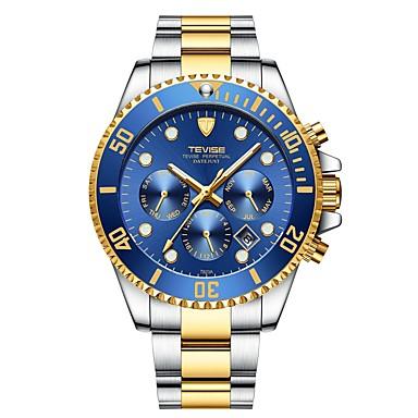 levne Pánské-Tevise Pánské mechanické hodinky japonština Automatické natahování Nerez Stříbro / Zlatá 30 m Voděodolné Kalendář Svítící Analogové Luxus Módní - Zelená Modrá