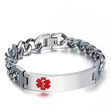levne Pánské šperky-Pánské Náramek Link / řetězec Evropský Moderní Titanová ocel Náramek šperky Stříbrná Pro Street / Pokovená platina