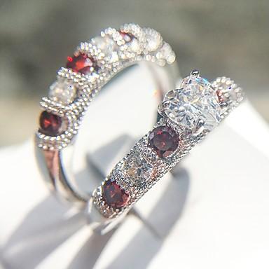 billige Motering-Dame Ring Ring Set 2pcs Sølv Kobber Platin Belagt Fuskediamant damer Romantikk Mote Bryllup Fest Smykker Klassisk Kjæreste Kjærlighed Smuk