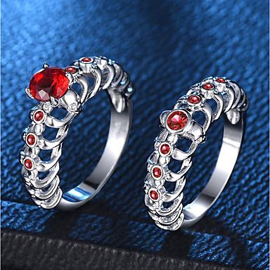 billige Motering-Dame Ring Ring Set Syntetisk Ruby 2pcs Sølv Kobber Platin Belagt Fuskediamant Line Formet damer trendy Mote Fest Stevnemøte Smykker Hodeskalle Kjæreste Kul