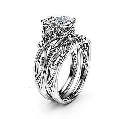 billige Motering-Dame Ring Ring Set 2pcs Sølv Kobber Platin Belagt Fuskediamant damer Romantikk Mote Fest Arbeid Smykker Utskjæring Kronblad Smuk