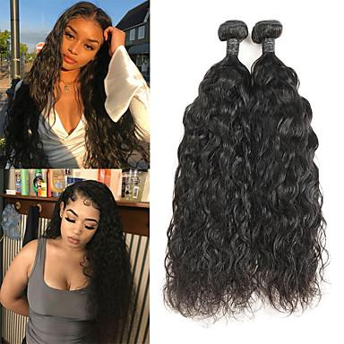 povoljno Ekstenzije od ljudske kose-2 Paketi Peruanska kosa Prirodne kovrče Remy kosa Ekstenzije od ljudske kose 8-26 inch Natural Isprepliće ljudske kose Najbolja kvaliteta Novi Dolazak Rasprodaja Proširenja ljudske kose / 10A