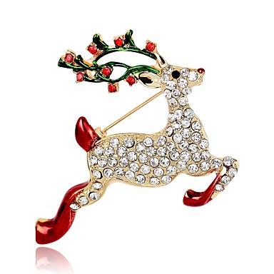preiswerte Brosche-Damen Broschen Klassisch 3D Elk Tier damas Klassisch Retro Strass vergoldet Brosche Schmuck Gold Für Weihnachten Festival