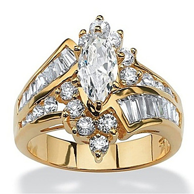 cheap Rings-Women's Ring Cubic Zirconia 1pc Gold Silver Resin Copper Rhinestone Round irregular Ladies Stylish Luxury Wedding Party Jewelry Layered Stylish Marquise Cut Crown