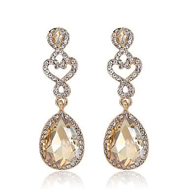 povoljno Modne naušnice-Žene Sapphire Citrin Viseće naušnice 3D Kruška dame Jednostavan Klasik Moda Umjetno drago kamenje Pozlaćeni Naušnice Jewelry Pink / Plava / Svjetlosmeđ Za Vjenčanje Dnevno Maškare Zaručnička zabava