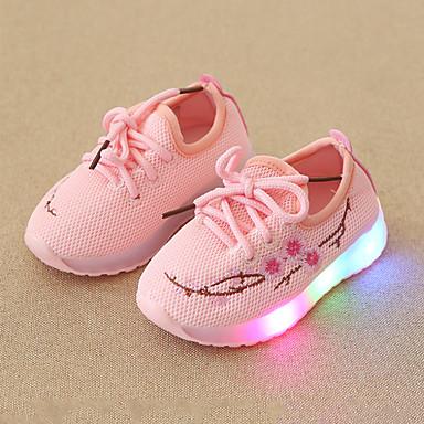 voordelige Babyschoenentjes-Meisjes Comfortabel / Oplichtende schoenen Netstof Sneakers Peuter (9m-4ys) / Little Kids (4-7ys) Veters / LED Wit / Zwart / Roze Lente & Herfst