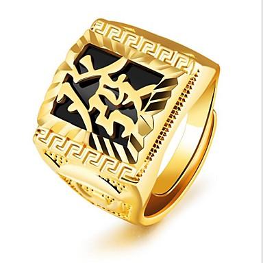 levne Pánské šperky-Pánské Midi Ring Pečetní prsten 1ks Zlatá 18K zlato Čtvercový Módní Párty Denní Šperky Retro Ryté Cool
