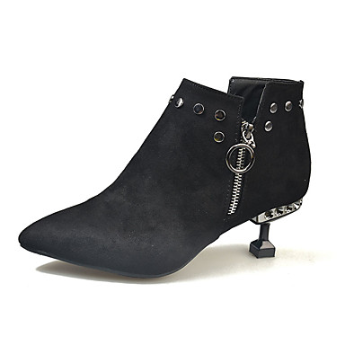 levne Dámská obuv-Dámské Boty Fashion Boots Nízký tenký Palec do špičky PU Kotníčkové Minimalismus Podzim Černá / Žlutá