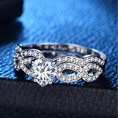 billige Motering-Dame Ring Ring Set 2pcs Sølv Kobber Platin Belagt Fuskediamant damer Romantikk Mote Bryllup Fest Smykker Klassisk Hjerte Kjærlighed Heart