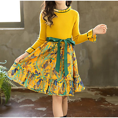 cheap Winter Outerwear-Kids Girls' Sweet Street chic Daily Going out Floral Patchwork Ruched Print Long Sleeve Knee-length Dress Green / Cotton