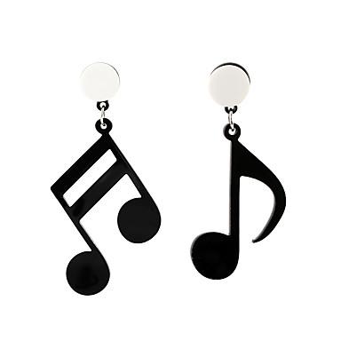 povoljno Modne naušnice-Žene Viseće naušnice neprilagođeno Glazba Glazbena nota dame Umjetnički Korejski Moda Naušnice Jewelry Crn Za Kauzalni 1 par