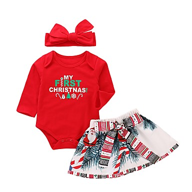 povoljno Odjeća za bebe-Dijete Djevojčice Aktivan / Osnovni Božić / Dnevno / Praznik Print / Božić Dugih rukava Duga Pamuk Komplet odjeće Red / Dijete koje je tek prohodalo