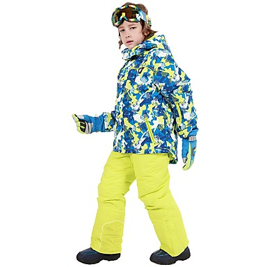 Phibee Boys  Girls  Ski Jacket with Pants Waterproof Thermal   Warm  Windproof Ski   Snowboard Outdoor Exercise Freestyle Snowboard Polyester  Winter Jacket ... 248517f34
