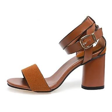 0ee8eab6497 Women s Strappy Stacked Heels PU(Polyurethane) Summer Sandals Chunky Heel  Black   Dark Brown 6917456 2019 –  16.99