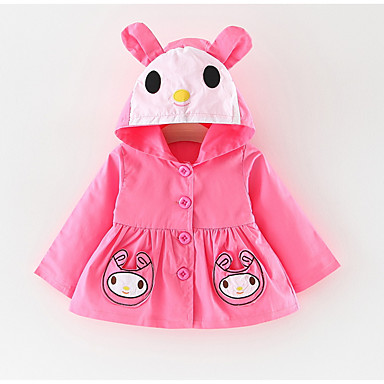 povoljno Odjeća za bebe-Dijete Djevojčice Osnovni Jednobojni Dugih rukava Normalne dužine Pamuk Jakna i kaput Plava