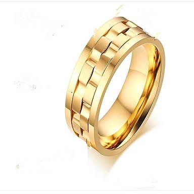 levne Pánské šperky-Pánské Midi Ring 1ks Zlatá Stříbrná Zlatá / černá Titanová ocel Circle Shape Módní Párty Denní Šperky Stylové kreativita Cool