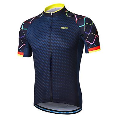 Arsuxeo Men s Short Sleeve Cycling Jersey - Navy Gradient Bike Jersey  Reflective Strips Sweat-wicking Sports 100% Polyester Mountain Bike MTB  Road Bike ... 8afb95fe0