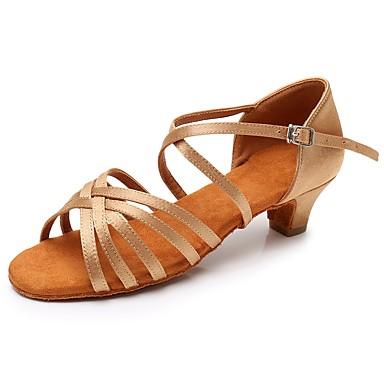 Zapatos Latino Baile Sandalia De Tacones Alto Hebilla Satén Chica GzpMqSUV