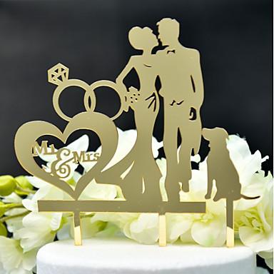 povoljno Svadbeni pir-Figure za torte Klasični Tema / Vjenčanje Izrezati Acryic / poliester Vjenčanje / godišnjica s Akril 1 pcs PVC vrećica