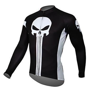 ILPALADINO สำหรับผู้ชาย แขนยาว Cycling Jersey สีดำ ส้ม สีเหลือง กระโหลก จักรยาน เสื้อยืด Tops ขี่จักรยานปีนเขา Road Cycling ระบายอากาศ แห้งเร็ว Ultraviolet Resistant กีฬา Terylene เสื้อผ้าถัก