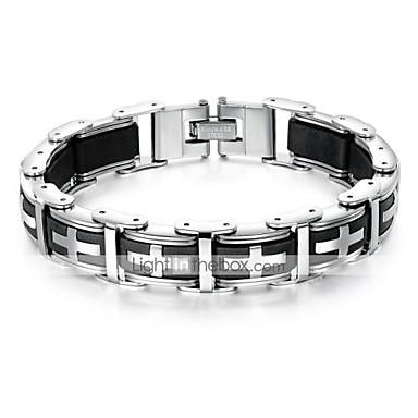 voordelige Herensieraden-Heren Hologramarmband Armband Schakelketting Sideways Cross Kruis Stijlvol Uniek ontwerp modieus Initial Titanium Staal Armband sieraden Zwart Voor Dagelijks Straat