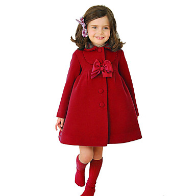 cheap Winter Outerwear-Kids Girls' Vintage Street chic Christmas Daily School Solid Colored Christmas Bow Long Sleeve Regular Cotton Jacket & Coat Purple