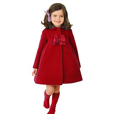 povoljno Jakne i kaputi za djevojčice-Djeca Djevojčice Vintage Ulični šik Božić Dnevno Škola Jednobojni Božić Mašna Dugih rukava Normalne dužine Pamuk Jakna i kaput purpurna boja