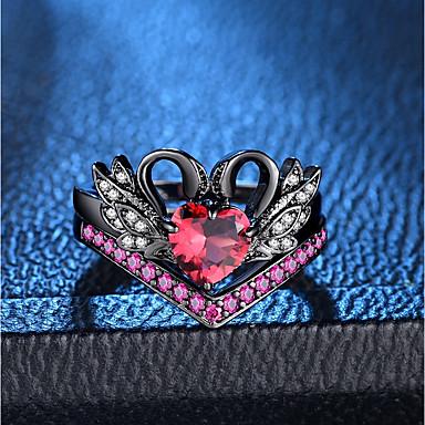 billige Motering-Dame Ring Ring Set 2pcs Svart Kobber Fuskediamant damer Romantikk Mote Fest Stevnemøte Smykker Multi Layer Svane Prinsesse Smuk