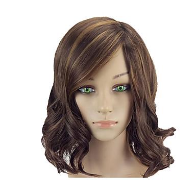 povoljno Perike i ekstenzije-Sintetičke perike Wavy Bob frizura Perika Srednja dužina Bakar Brown Sintentička kosa 14 inch Žene Nježno Otporan na toplinu Žene Smeđa hairjoy