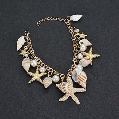 levne Dámské šperky-Dámské Náramek s přívěškem Tropický vzhled Mořská hvězdice Mušle Tropický vzhled Napodobenina perel Náramek šperky Zlatá Pro Svatební Karneval Jdeme ven Narozeniny Bikini