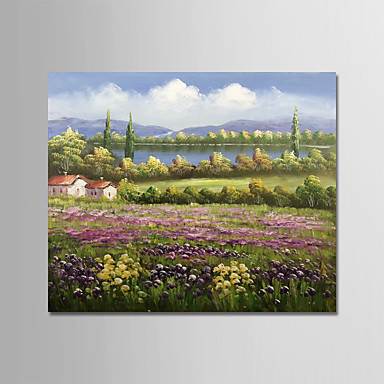 cheap Wall Art-Oil Painting Hand Painted - Landscape Floral / Botanical Modern Stretched Canvas