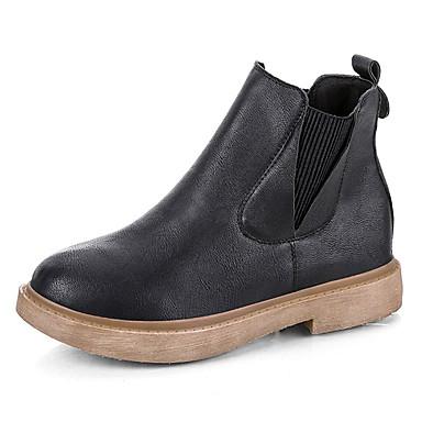e1e55e6fae32 Women s Fashion Boots PU(Polyurethane) Fall Minimalism Boots Low Heel Round  Toe Booties   Ankle Boots Black   Khaki 6942378 2019 –  22.99