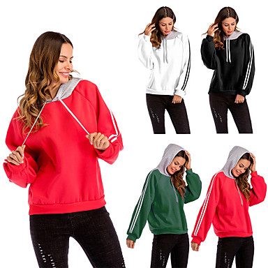 981e28ddd Women s Crew Neck Patchwork Hoodie   Sweatshirt Black Red Green Sports  Stripes Cotton Top Running Fitness Gym Workout Long Sleeve Plus Size  Activewear ...