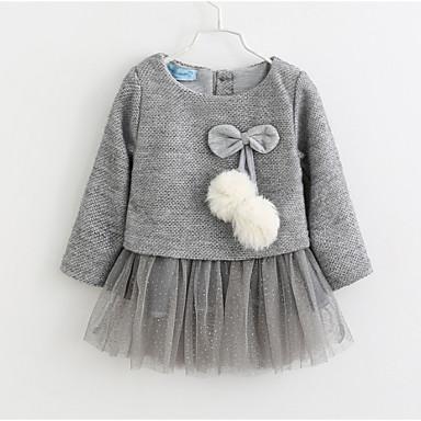 povoljno Odjeća za bebe-Dijete Djevojčice Osnovni Jednobojni / Božić Dugih rukava Pamuk Haljina Lila-roza / Dijete koje je tek prohodalo