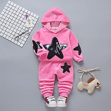 povoljno Odjeća za bebe-Dijete Djevojčice Osnovni Dnevno Jednobojni / Galaksija Dugih rukava Regularna Komplet odjeće Red / Dijete koje je tek prohodalo