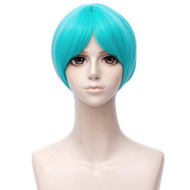 billige Kostymeparykk-Cosplay Parykker Syntetiske parykker Rett Stil Asymmetrisk frisyre Parykk Kort Grønn Syntetisk hår 12 tommers Herre Anime Cosplay Grønn Parykk