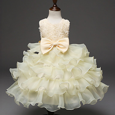cheap Baby & Kids-Kids Girls' Active Sweet Party Holiday Solid Colored Bow Pleated Sleeveless Knee-length Dress White