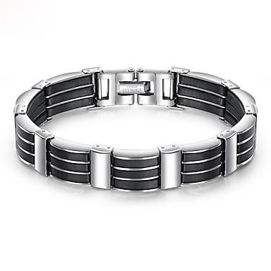 levne Pánské šperky-Pánské Náramek Silný řetězec Jedinečný design Moderní počáteční šperky Nerez Náramek šperky Černá Pro Street / Silikon / Titanová ocel / Pokovená platina