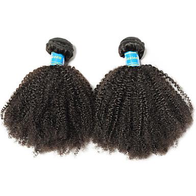 povoljno Ekstenzije za kosu-2 Paketi Brazilska kosa afro Virgin kosa Remy kosa Ljudske kose plete 8-26 inch Natural Isprepliće ljudske kose Najbolja kvaliteta 100% Djevica Proširenja ljudske kose / 10A