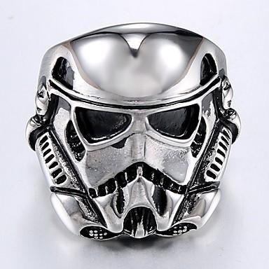 levne Dámské šperky-Pánské Prsten 1ks Stříbrná Titanová ocel Kulatý nepravidelný stylové Vintage Punk Denní Street Šperky Retro styl Stylové Ryté Maska Cool