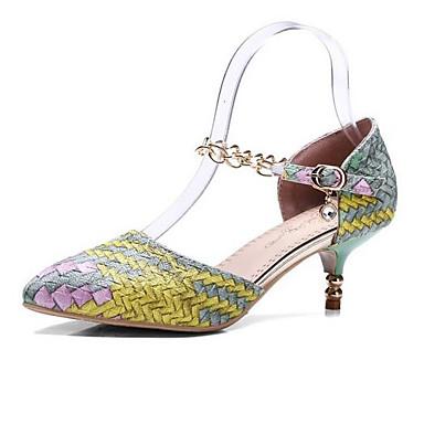 ราคาถูก ส้นรองเท้า-สำหรับผู้หญิง รองเท้าส้นสูง ส้นต่ำ PU ตก สีม่วง / สีเหลือง / แดง / ทุกวัน