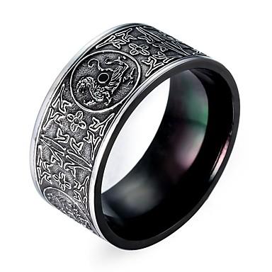 voordelige Herensieraden-Heren Ring 1pc Zilver Titanium Staal Wolfraamstaal Punk Initial Dagelijks Cosplay Kostuums Sieraden Klassiek Totem Series Magie