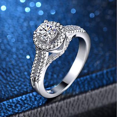 billige Motering-Dame Ring Micro Pave Ring 1pc Sølv Kobber Platin Belagt Fuskediamant Fire tenger damer Klassisk Romantikk Bryllup Engasjement Smykker Klassisk HALO simulert Kjærlighed Smuk