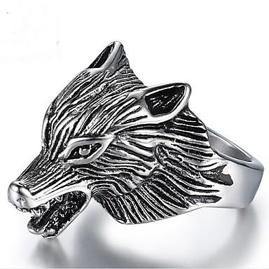 levne Pánské šperky-Pánské Midi Ring 1ks Stříbrná Titanová ocel Geometric Shape Vintage Denní Narozeniny Šperky Retro styl Vlk Cool