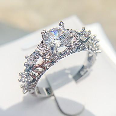 levne Dámské šperky-Dámské Prsten 1ks Stříbrná Měď Pokovená platina Umělé diamanty Čtyřzubec dámy Romantické Elegantní Svatební Zásnuby Šperky HALO láska Půvab